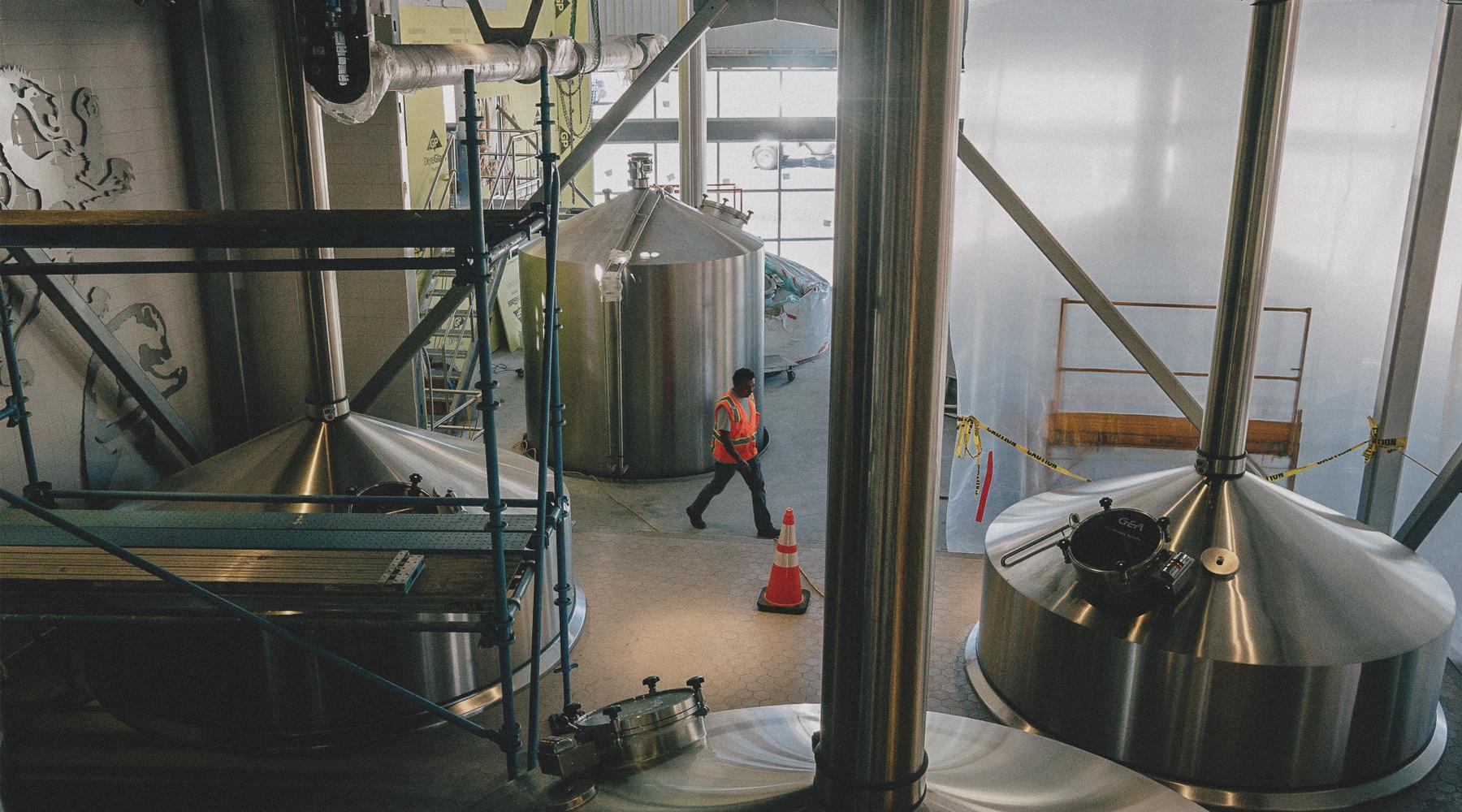Brew tanks being installed